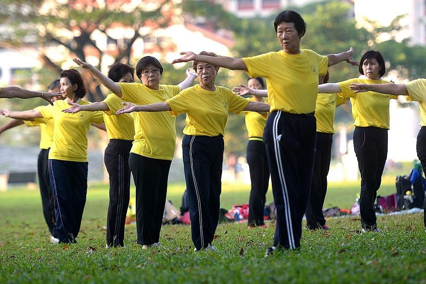"""Senior citizens exercising in Bishan Park. """"Research is key to helping us transform the experience of ageing in Singapore,"""" said Dr Amy Khor. By 2030, one in four Singaporeans will be aged 65 and above, compared to one in eight now."""
