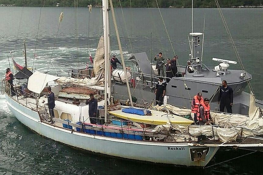 Navy personnel on board the Rockall after it was recovered near Laparan island in Sulu province in Mindanao. Militants claim to have kidnapped the yacht's German sailor and killed his wife.