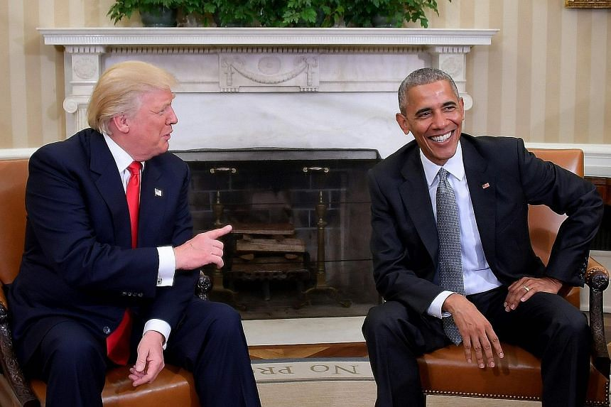 """The meeting between the incoming and outgoing presidents of the United States was """"excellent"""", said President Barack Obama. But faced with a room full of journalists in the Oval Office after their 90-minute closed-door discussion, the two men seemed"""
