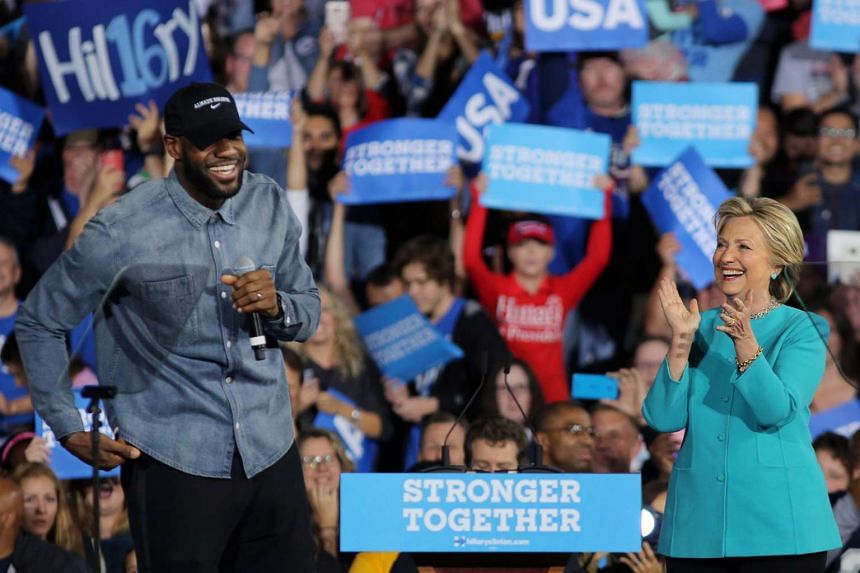 Lebron James introduces Hillary Clinton during a campaign rally in Cleveland, Ohio, Nov 6, 2016.