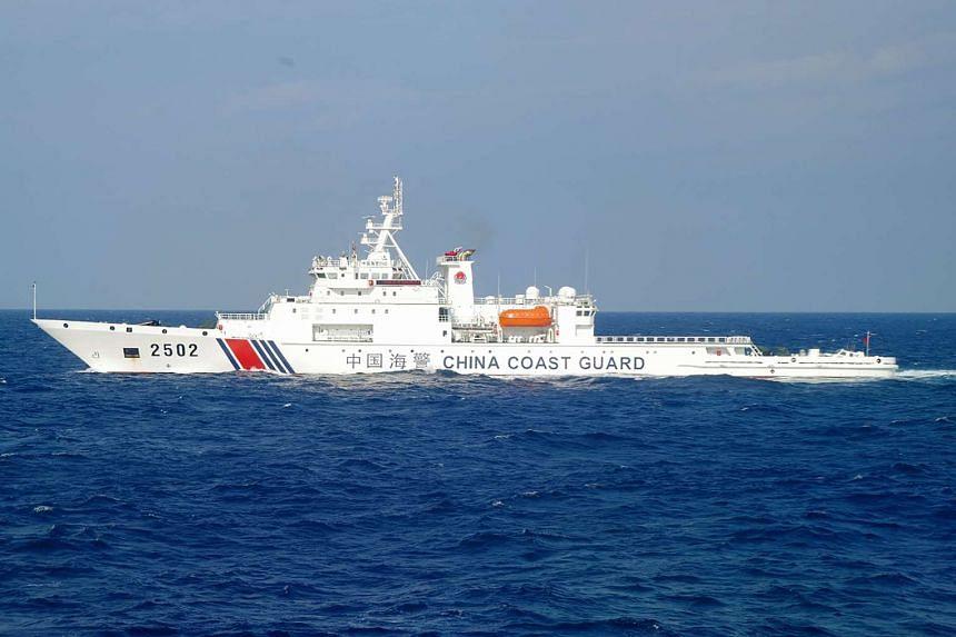 China's Haijing 2502 patrol boat sails into waters near the disputed Senkaku islands, in the East China Sea on Nov 6, 2016.