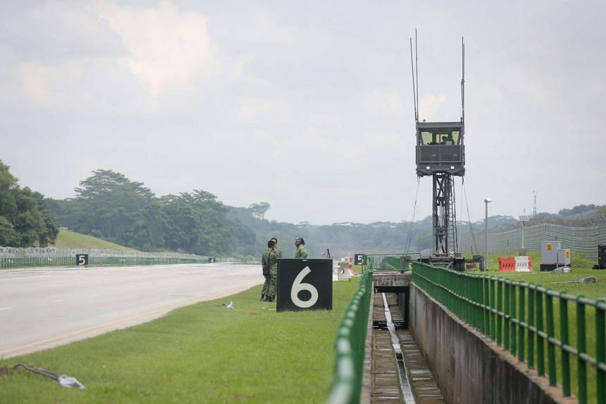 The Mobile Air Traffic Control (MATC) Tower installed along Lim Chu Kang Road, the alternate runway.