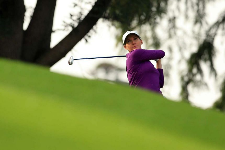 Sarah Jane Smith of Australia watching her 1st shot on the 18th hole during the second round of the Citibanamex Lorena Ochoa Invitational Presented By Aeromexico and Delta at Club de Golf Mexico, on Nov 11, 2016.