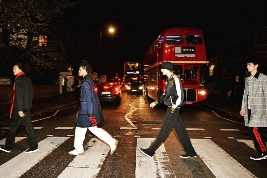 The fashion show for Stella McCartney's menswear collection, which was presented at London's Abbey Road recording studio, referenced The Beatles' 1969 album cover by parading models across the same road.