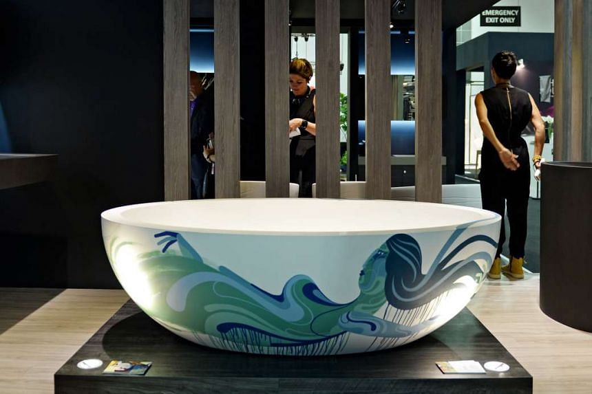 A bathtub painted by muralist James Reka on display at the Maison&Objet Asia show at Marina Bay Sands in 2014, the first show in Singapore.