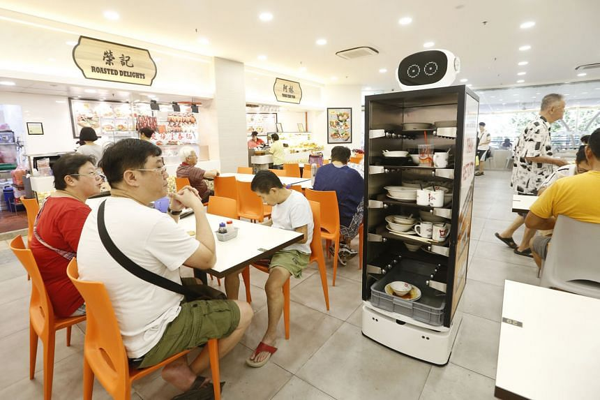 Koufu piloted three Smart Tray Return Robots at its foodcourt in Punggol Plaza. The robots have sensors that help them to navigate around tables and encourage patrons to return their trays. The food centre operator was one of 10 companies honoured at the