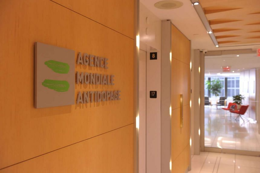 The logo of World Anti-Doping Agency at the headquarter of the organisation in Montreal.