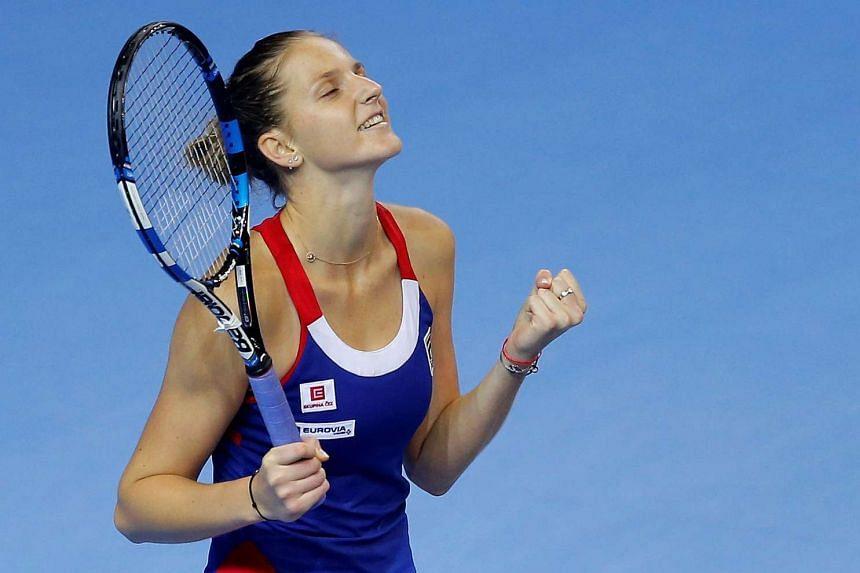 Pliskova celebrates her victory against France's Kristina Mladenovic