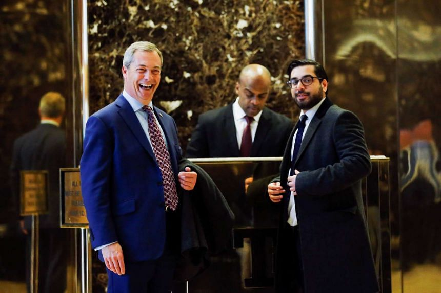 Nigel Farage, leader of the UK Independence Party (UKIP), arrives at Republican president-elect Donald Trump's Trump Tower in New York.