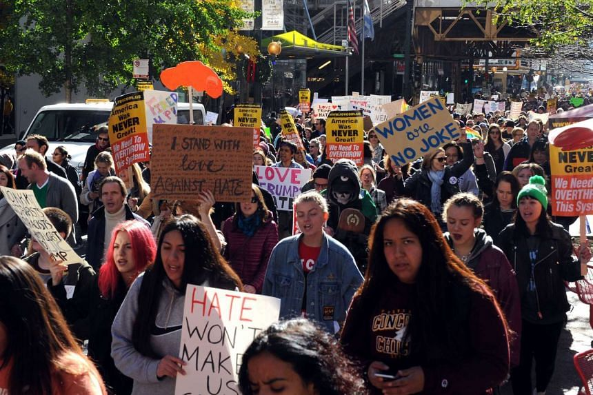 Demonstrators march to Trump Tower in Chicago on Nov 12, 2016.