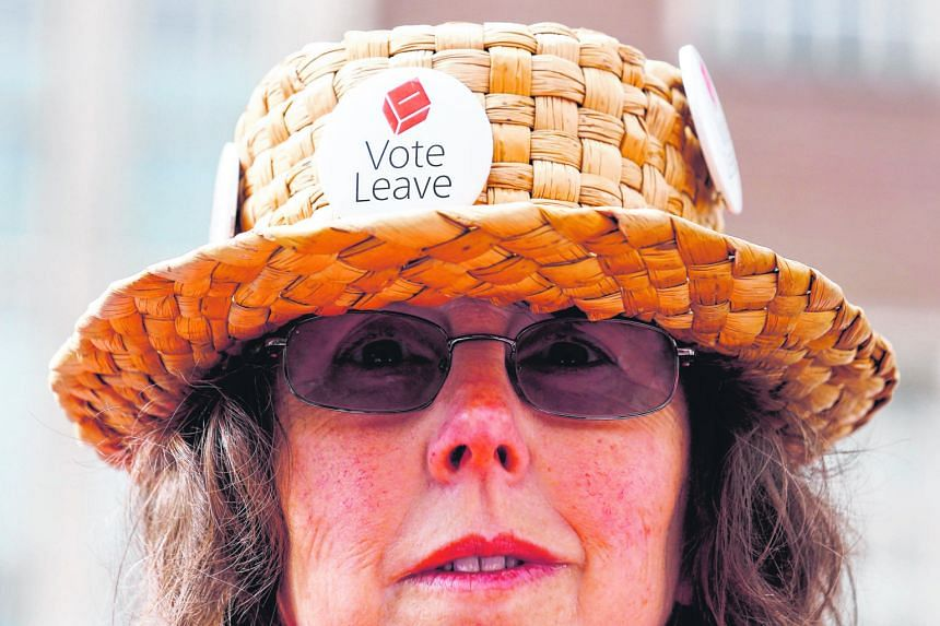 "A ""Leave"" supporter wearing her vote on her hat in Exeter, Britain, in May. Europe has to tackle its problems of immigration and cultural identity, said Mr Tharman."