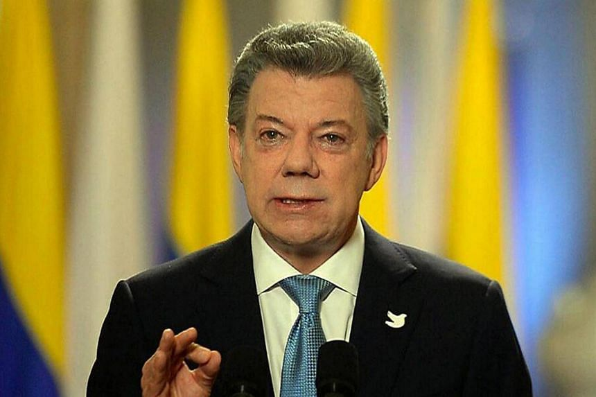 President of Colombia Juan Manuel Santos speaking during his speech on the new peace agreement between the Colombian government and the FARC rebel group in Bogota, Colombia on Nov 12, 2016.
