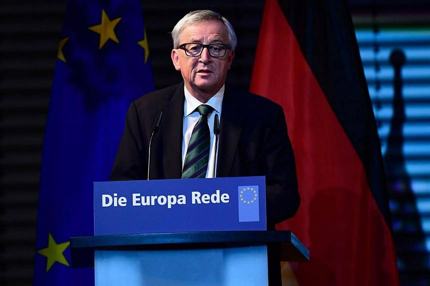 """Jean-Claude Juncker, President of the European Commission, holds his 7th Europe speech """"The State of Europe"""" on the anniversary of the fall of the Berlin Wall on Nov 9, 2016 in Berlin."""