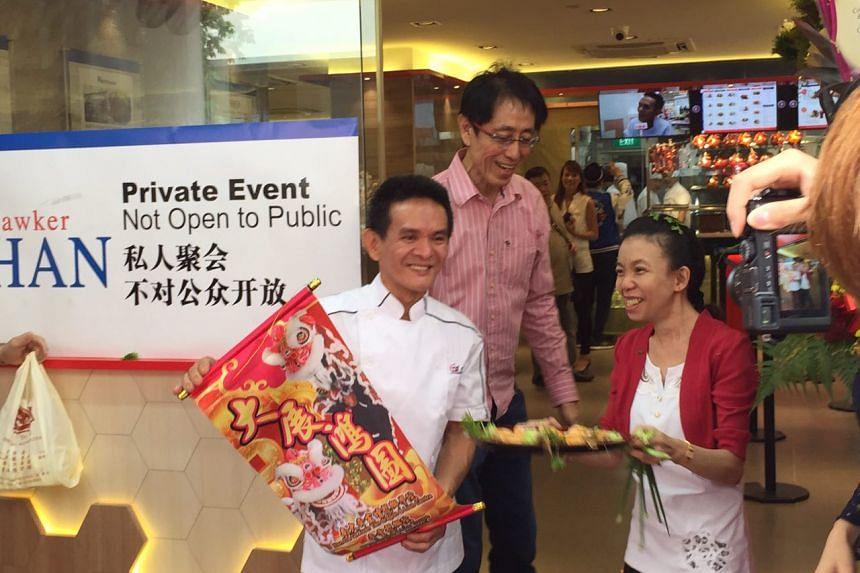 Hawker Chan Hong Meng and his wife Irene Quek at his new restaurant at 78 Smith Street.
