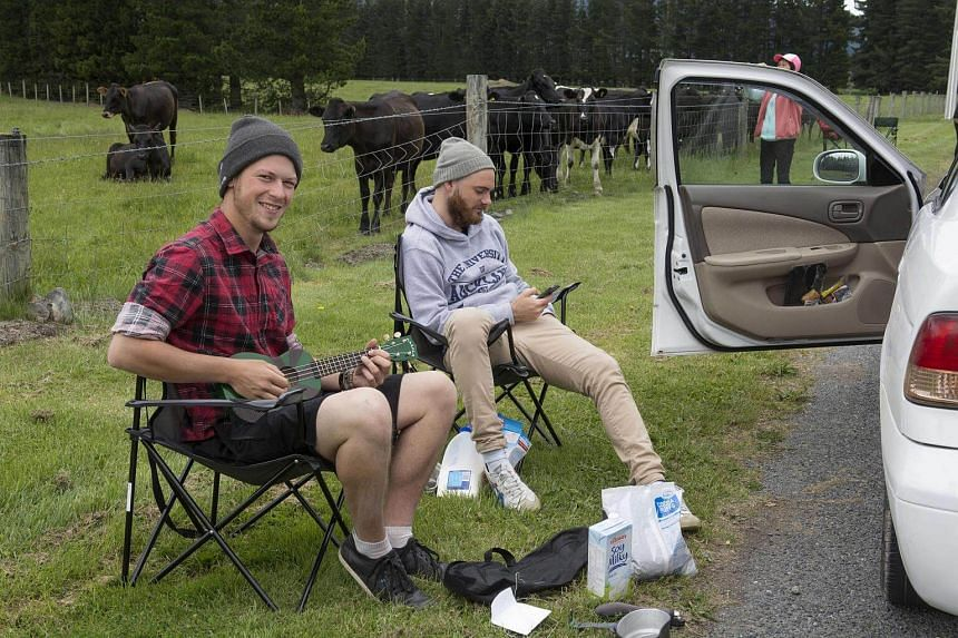 German tourists Robin Tohermes (left) and Niels Gallo, sit out in a slowly swelling traffic jam by the Hanmer Springs road cordon, after the 7.5 magnitude Hanmer Earthquake in Hanmer Springs, New Zealand on Nov 14, 2016.