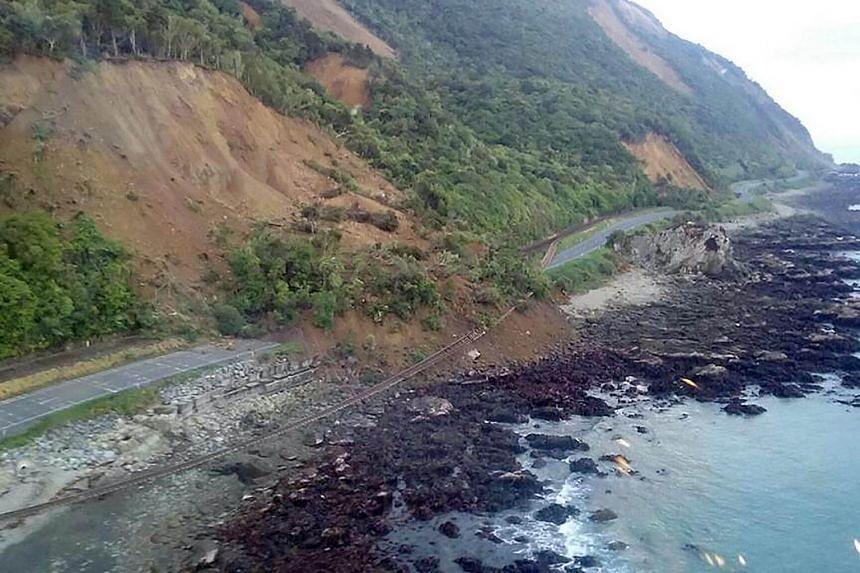Earthquake damage to State Highway One near Ohau Point on the South Island's east coast.