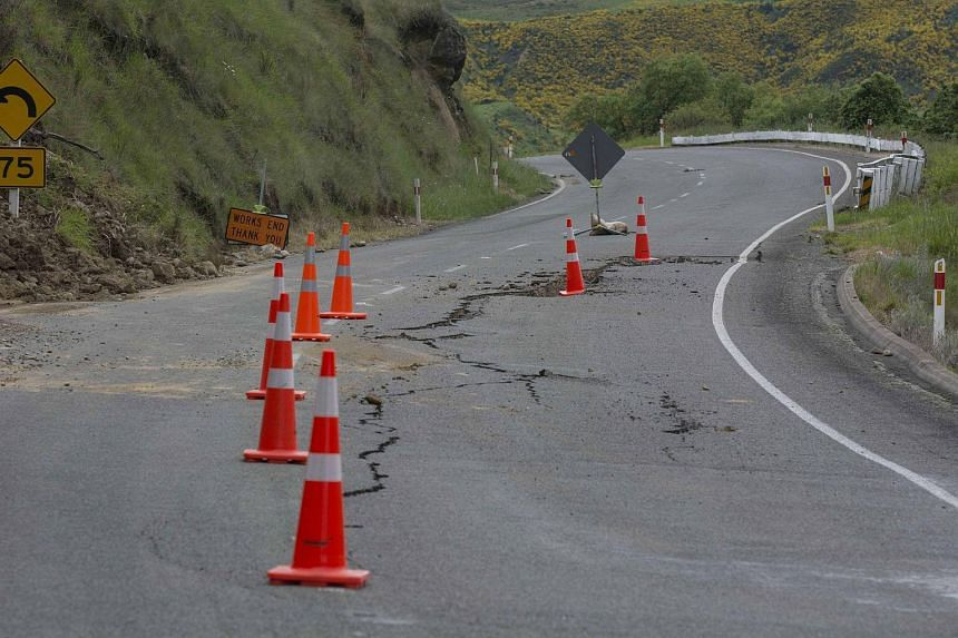 Damage to State Highway 7 near the Waiau Ferry Bridge in Hanmer after the earthquake.