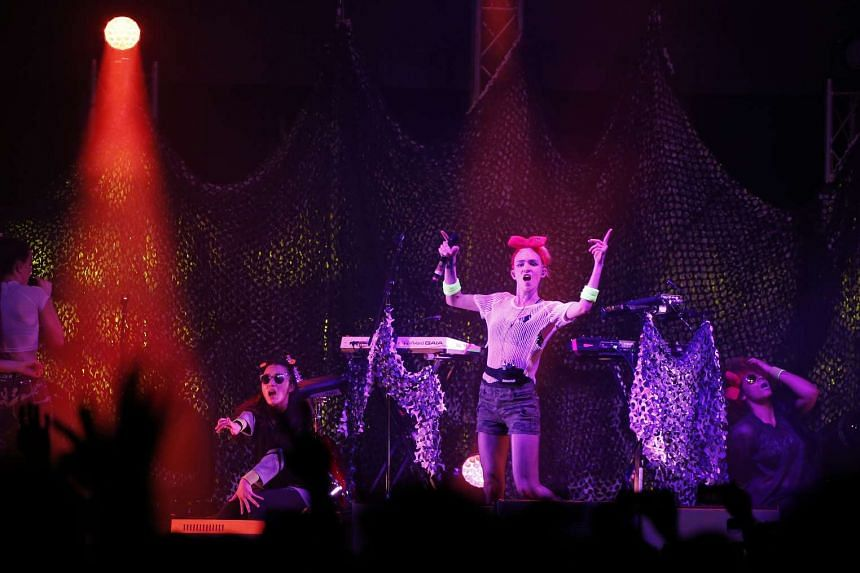 Canadian electronic artist Grimes (centre) performing at The Meadow, Gardens by the Bay on Jan 30, 2016.