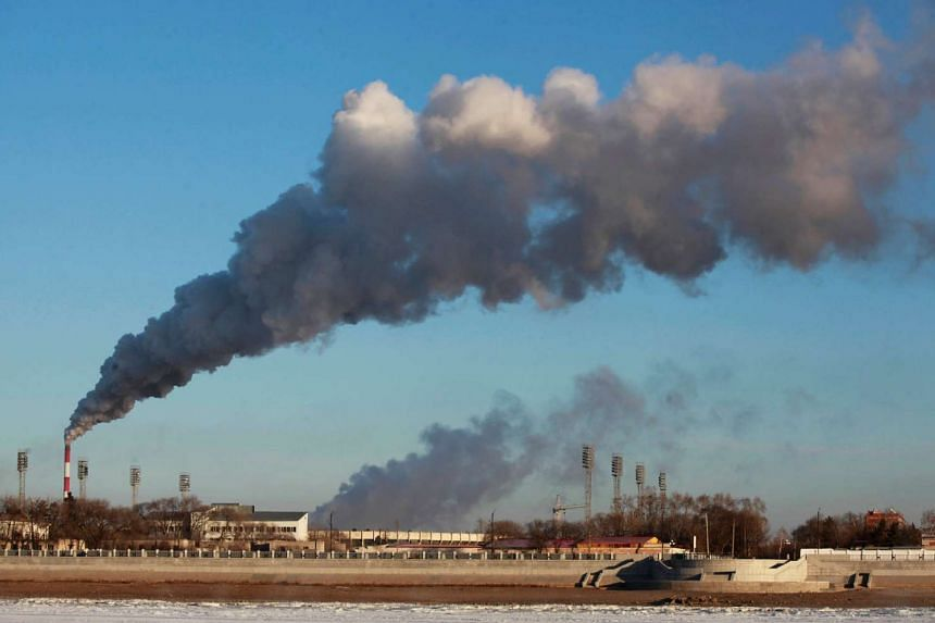 Smoke billowing from a heating factory in Heihe, in northeastern China's Heilongjiang province.
