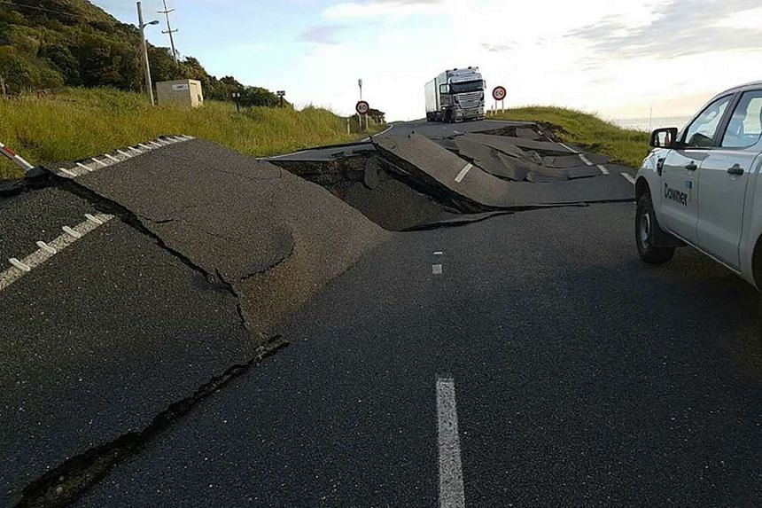 Earthquake damage to State Highway One near Oaro on the South Island's east coast, seen on Nov 14, 2016.