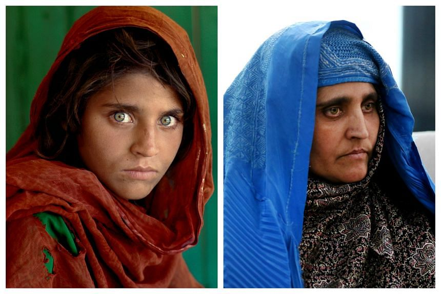 Sharbat Gula, as she appeared on the cover of a 1985 issue of the National Geographic (left) and on Nov 10, 2016.