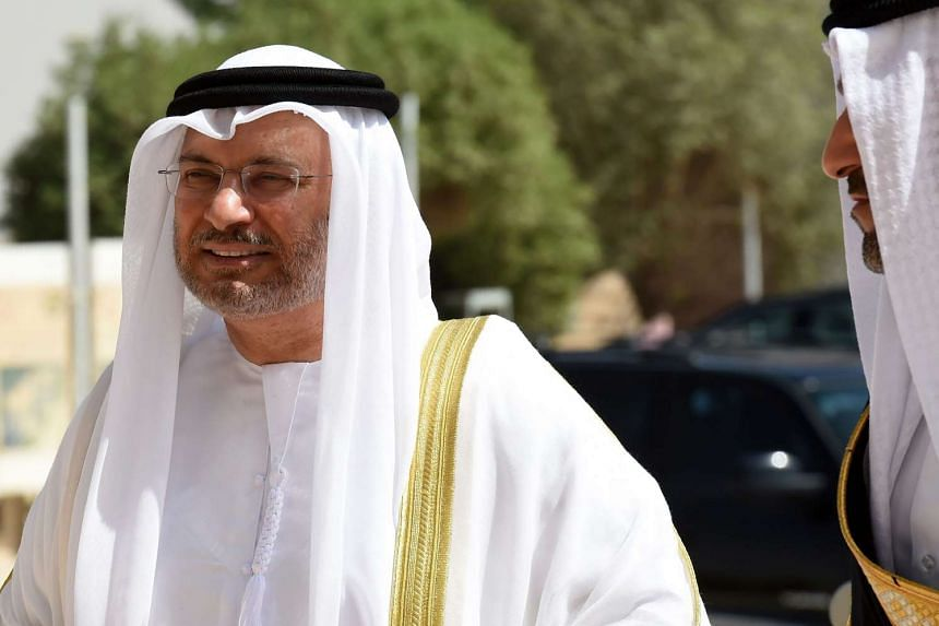 UAE Minister of State for Foreign Affairs Anwar Gargash (L) arrives for a meeting with foreign ministers of the GCC in the Saudi capital Riyadh, on Oct 13, 2016.