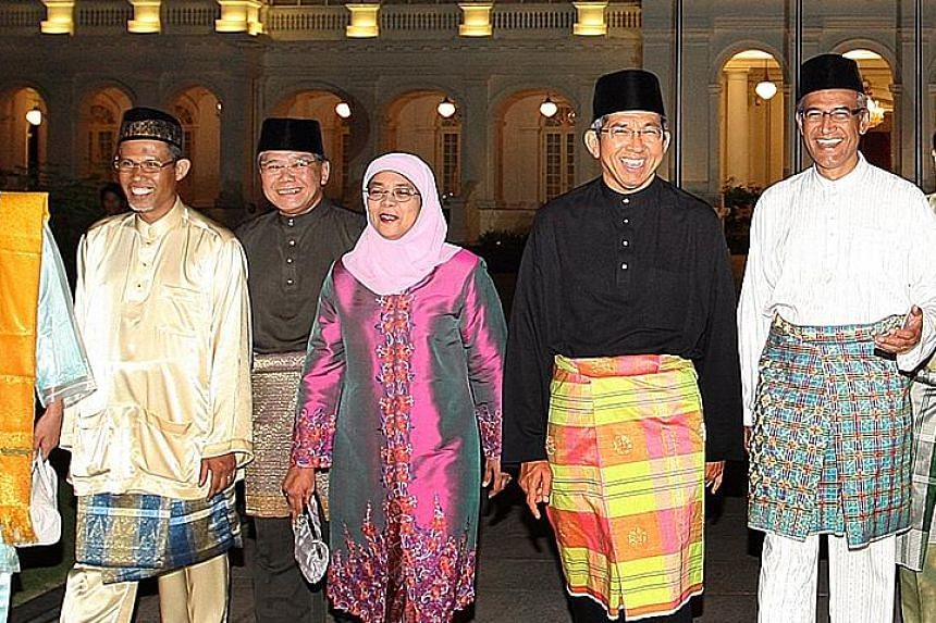 From far left: Mr Masagos, Mr Abdullah, Madam Halimah, Dr Yaacob and Mr Zainul at a Hari Raya event at the Istana in 2009. While these names from the public sector have surfaced, there has been little talk of candidates from the private sector.