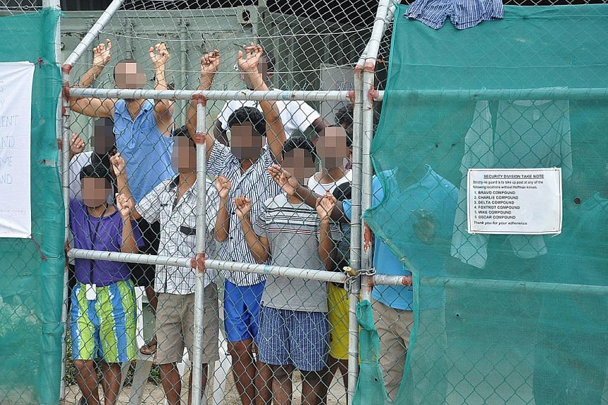 Asylum seekers at the Manus Island detention centre in Papua New Guinea. Australia's controversial offshore centres have long been described as illegal and cruel by the UN and human rights groups.