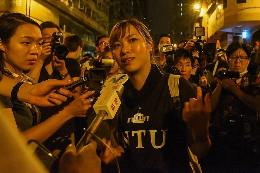 Ms Yau Wai Ching urging those who gathered in Hong Kong last week to protest against Beijing's intention to interpret the Basic Law to leave the area, as she was worried about their safety.