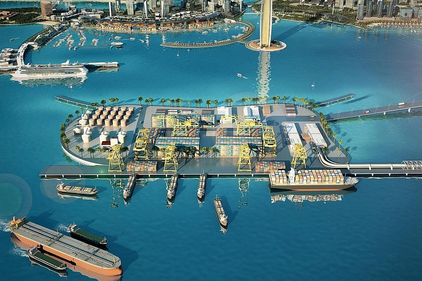 An artist's impression of the Melaka Gateway joint venture, which is part of a wider port alliance between Kuala Lumpur and Beijing to increase bilateral trade and boost shipping and logistics along China's Maritime Silk Road.