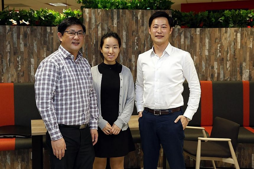 From left: Mr Li, 50, Ms Feng, 28 and Mr Sung, 37, are among the entrepreneurially inclined DBS staff who have taken advantage of the bank's Hotspot Pre-Accelerator programme to launch their own start-ups, all while remaining full DBS employees.