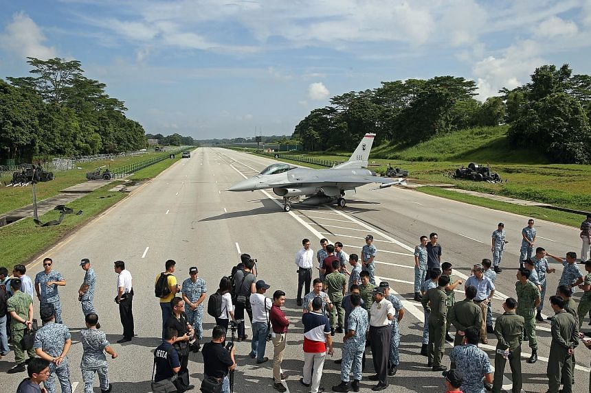The roar of fighter planes barrelling down Lim Chu Kang Road broke the silence yesterday morning as the Republic of Singapore Air Force (RSAF) demonstrated its capabilities during Exercise Torrent. The exercise saw the 2.5km stretch turned from a roa