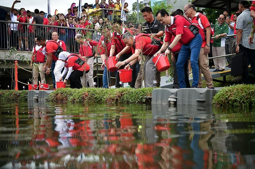 PM Lee, flanked by Dr Lam (left) and Minister of State for National Development Koh Poh Koon, planting a series of api-api putih trees on floating turfs of soil at Punggol Reservoir yesterday. The trees will have their roots suspended in the water to