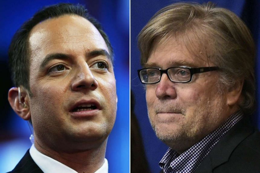 US President-elect Donald Trump made the first top appointments of his new administration on Nov 13, 2016, naming Reince Priebus (L) his White House chief of staff and Steve Bannon as his chief strategist and senior counselor.