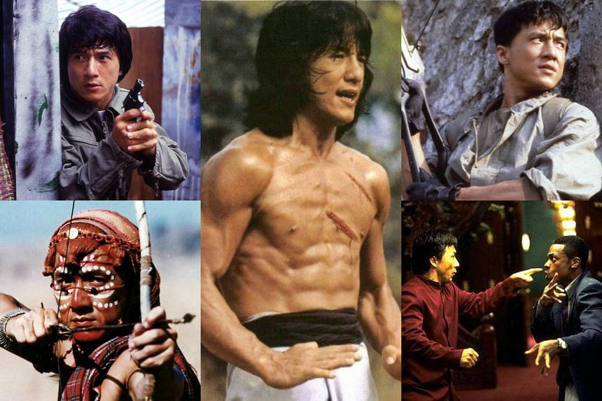 Jackie Chan in his films (clockwise, from top left) Police Story, Drunken Master, Armour Of God, Rush Hour and Who Am I?