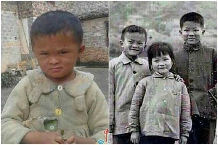 Fan Xiaoqin (left) and a picture of Jack Ma when he was young.