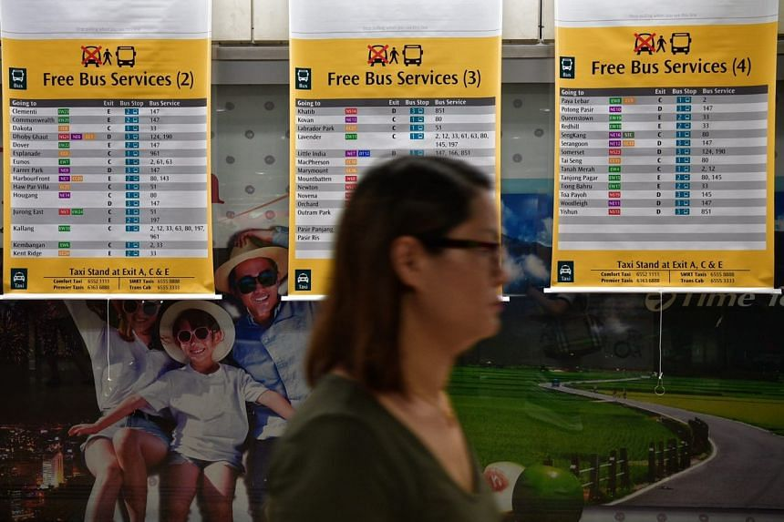 Signs at Chinatown station informing commuters about the various free bus services.