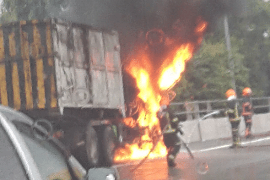 A lorry burst into flames on the road shoulder on PIE on Monday (Nov 14). No one was injured.