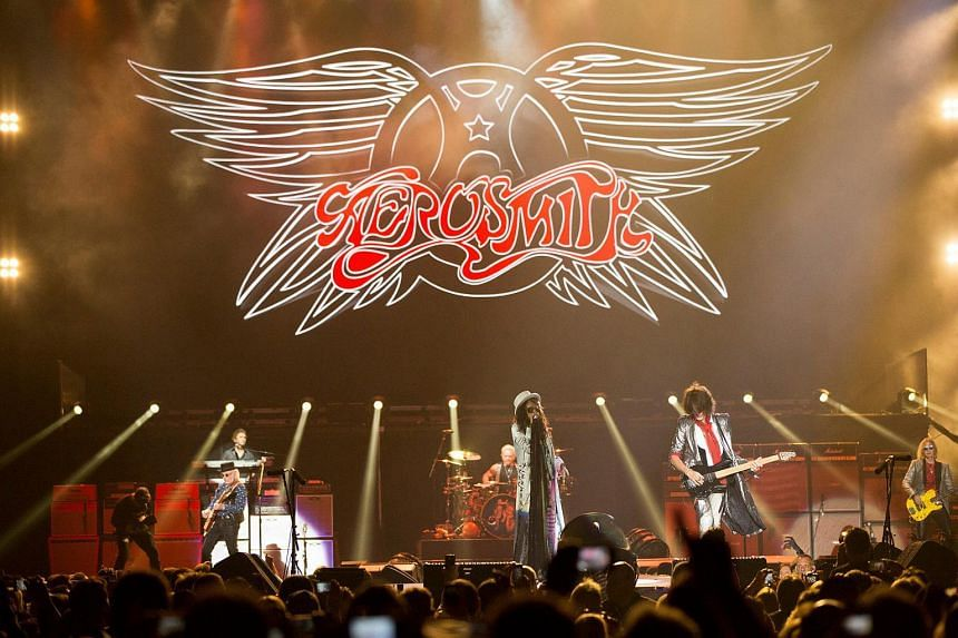"""Rock band Aerosmith performs during their """"Aerosmith Let Rock Rule"""" tour in Inglewood, California, on July 30, 2014."""