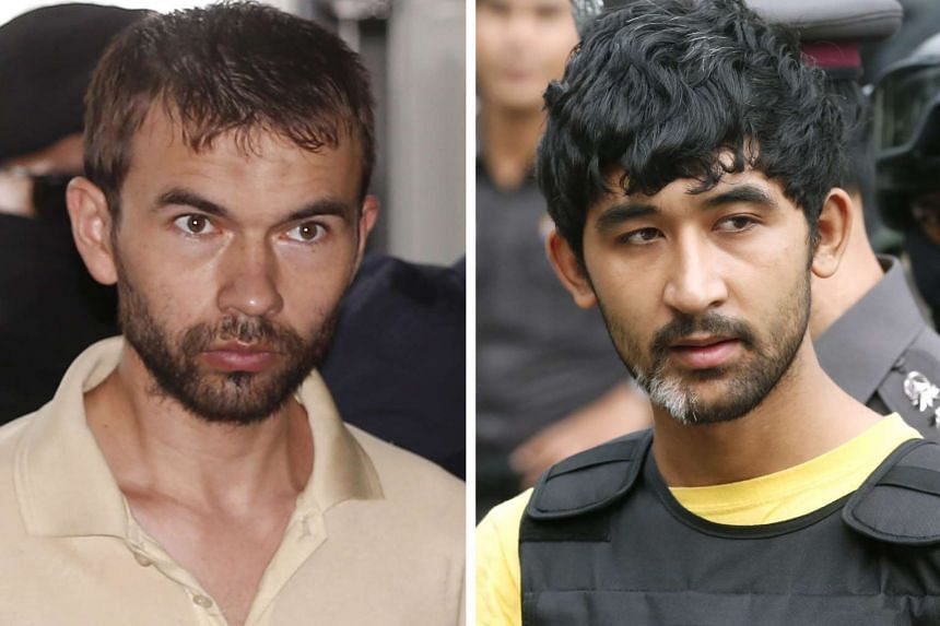 A file picture dated Aug 23 shows the Erawan Shrine bombing main suspects, identified by Thai police as Adem Karadag (left) and Yusufu Mieraili.