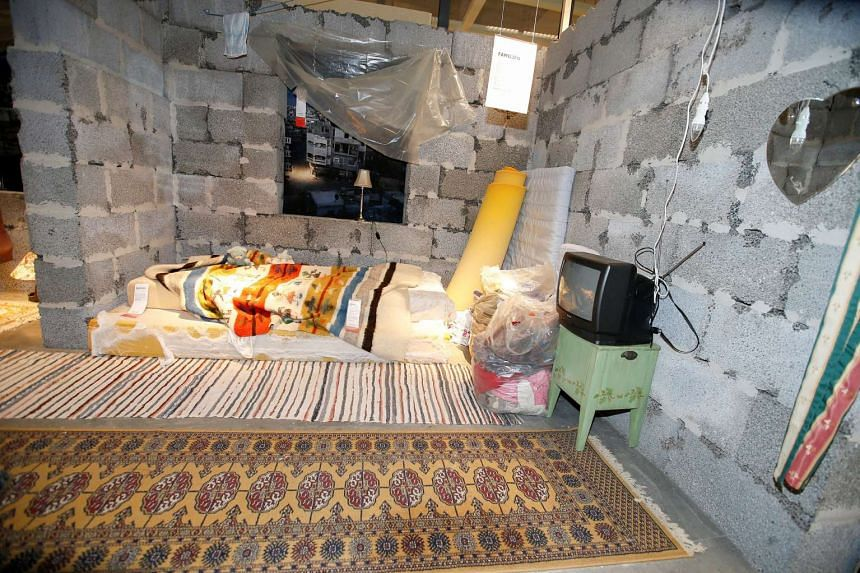A Syrian home is shown as part of an exhibition at an Ikea store in Slependen, Norway.