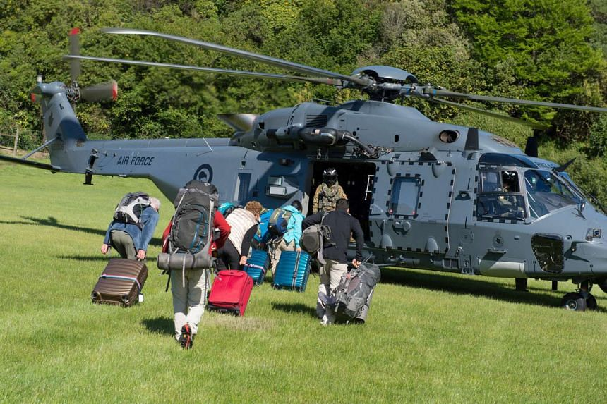 A Royal New Zealand Air Force NH90 helicopter arrives in Kaikoura to evacuate those stranded following the recent earthquakes.
