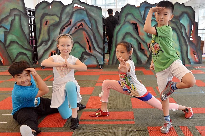 Rehearsing for Monkey Goes West is no child's play for (from far left) Joshua Goh, Beeland Anderson Parker Rogers, Shannon Lee and Josiah Tan.