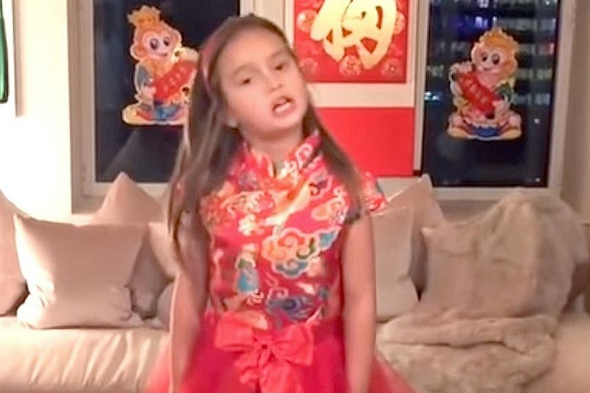 A screen grab of the video showing Arabella Kushner, five, reciting ancient Chinese poetry. She has reportedly been studying Chinese since she was 18 months old.