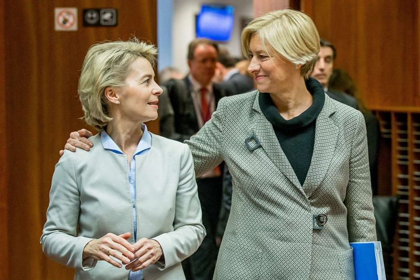 German defence minister Ursula von der Leyen (left) and Italy's defence minister Roberta Pinotti during an EU joint meeting between foreign affairs ministers and defence ministers Council in Brussels, Belgium on Nov 14.
