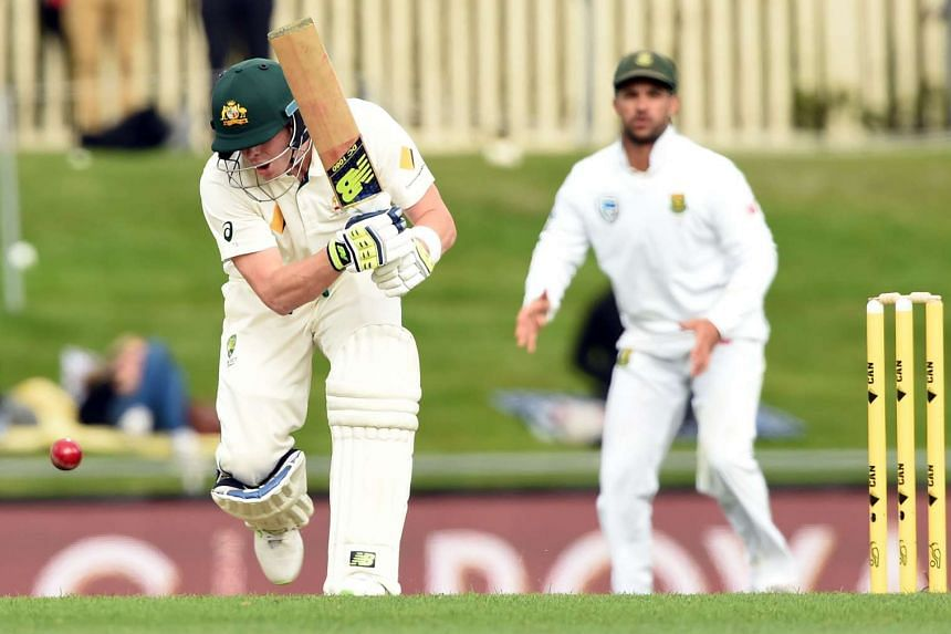 Australia's batsman Steven Smith plays a shot on the third day's play of the second Test cricket match between Australia and South Africa in Hobart on Nov 14, 2016.