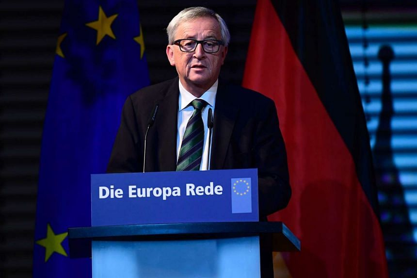 Jean-Claude Juncker, President of the European Commission, speaks on the anniversary of the fall of the Berlin Wall on Nov 9, 2016 in Berlin.