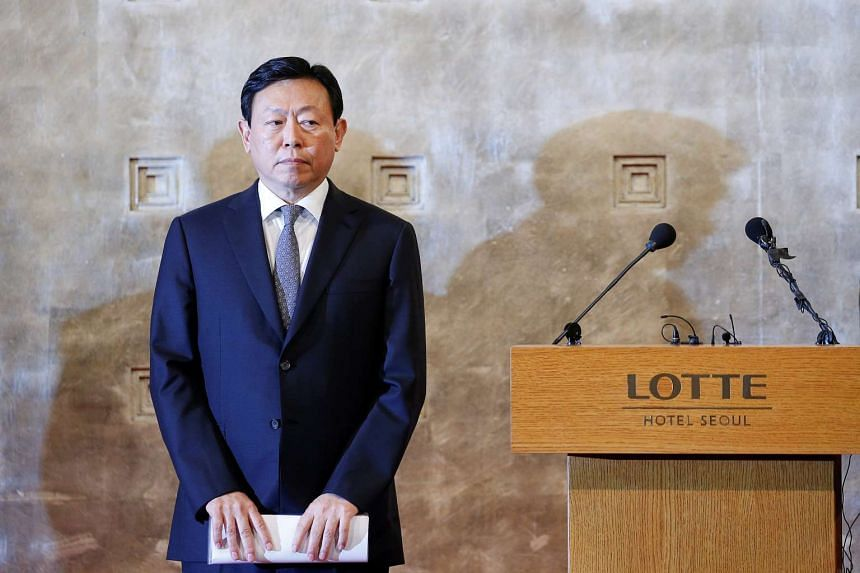 Lotte Group chairman Shin Dong Bin attends a news conference in Seoul.