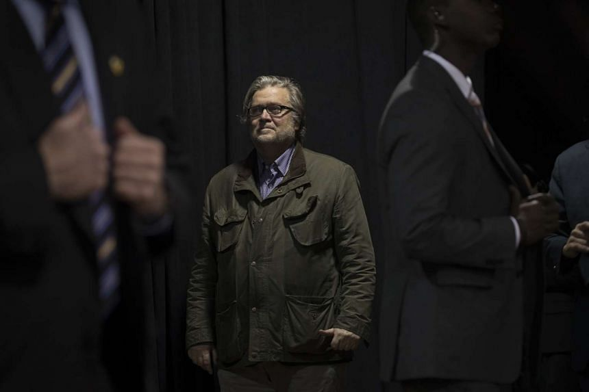 Stephen Bannon at a campaign rally in Manchester, New Hampshire, on Oct 28, 2016.
