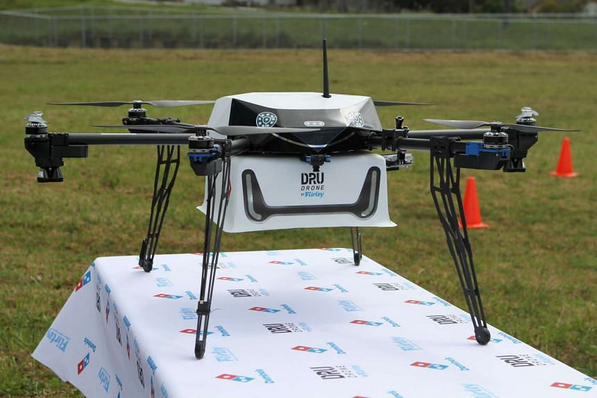 This undated handout photo received on Nov 16, 2016 shows a drone designed to deliver pizzas in Whangaparaoa.